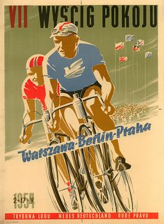 BicycleGifts.com - Peace Race 1954 Bicycle Poster, $29.00 (http://www.bicyclegifts.com/peace-race-1954-bicycle-poster/)