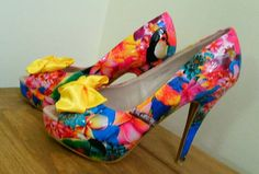 Tropical flowers/ birds customised shoes by SHUmaze on Etsy