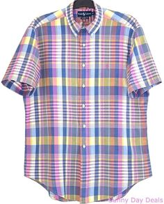 Ralph Lauren Shirt Plaid Cotton Madras Short Sleeve Button Front Classic Fit L #RalphLauren #ButtonFront