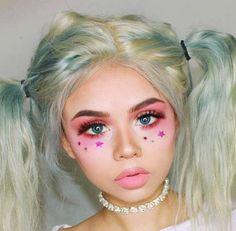 icy hair & pink eye makeup