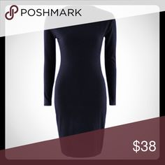 Women's bodycon all black dress. Black long sleeves bodycon dress. Stretchy and knee length. Round collar and made of polyester and spandex. Fits true to size. Very stretchy so you can order a size up from your norm as well. Very sexy and accentuates curves. Throw a statement necklace on and your good to go😊 Dresses Long Sleeve