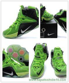 684593-609 Nike Lebron 12 EP Verde/Preto Masculino-Mulheres site de compra de tenis