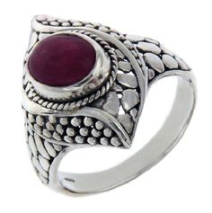 Solid Sterling Silver Ruby Pebble Bali Ring Size 9.5 » R319