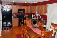 Red walled kitchen