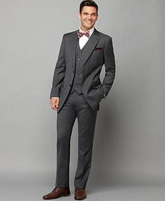 Tommy Hilfiger Suit Separates, Grey Stripe Slim Fit - Suit Separates - Johnny got the slim fit! He looks SO good in it too! Light grey shirt and yellow tie. Grey Slim Fit Suit, Grey Pinstripe Suit, Gray Suits, Sharkskin Suit, Men Suit Shoes, Tommy Hilfiger Suits, Groom And Groomsmen Suits, Groom Shoes, Tuxedo For Men