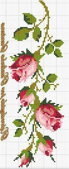 New Embroidery Rose Pattern Punto Croce Ideas Cross Stitch Bird, Cross Stitch Borders, Cross Stitch Flowers, Cross Stitch Designs, Cross Stitching, Cross Stitch Patterns, Diy Embroidery Machine, Rose Embroidery, Embroidery Patterns