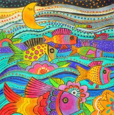 Laurel Burch Fanciful Fish large Handpainted Needlepoint Canvas by Dan – Needlepoint by Wildflowers Colorful Fish, Tropical Fish, Laurel Burch, Hand Painted Canvas, Arte Popular, Canvas Designs, Fish Design, Needlepoint Canvases, Klimt