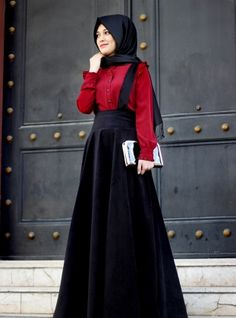 Askılı Kadife Etek - Siyah -Gamze Polat