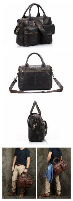 Handmade Top Grain Dark Coffee Leather Briefcase Messenger Bag Men's Handbag 15'' Laptop Bag NZ04