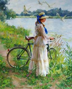 Art of Vladimir Gusev Art And Illustration, Illustrations, Bicycle Painting, Bicycle Art, Image 3d, Cycling Art, Russian Art, Art Themes, Woman Painting
