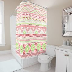 #white - #Coral Red Pink Lime Green Aztec Zigzag Pattern Shower Curtain