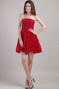 Red Chiffon Strapless Graduation Gowns - Order Link: http://www.theweddingdresses.com/red-chiffon-strapless-graduation-gowns-twdn0755.html - Embellishments: Flower , Ruched; Length: Short; Fabric: Chiffon; Waist: Natural - Price: 145.27USD