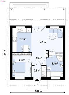 Plano de casa de 11 x 10 m planos para casas en 2019 for Casa moderna 7x7