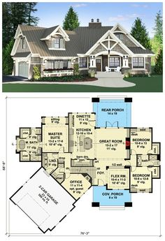 Magnificent Curb Appeal This Craftsman house plan will wow you with its magnificent curb appeal. The metal roofing and decorative wood trim draw your eyes as you approach the house.