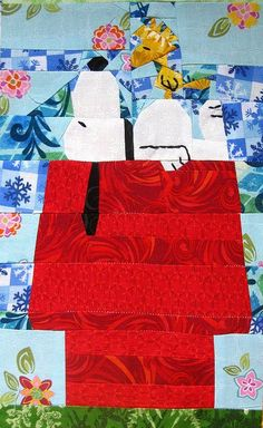 Peanuts-SnoopyAndWoodstock free paper piecing quilt pattern