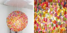 Gummy bear chandelier.... if this was in my house, all the white gummy bears would be gone :)