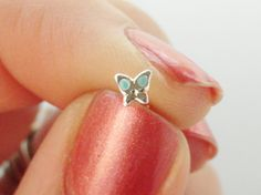 Turquoise Butterfly Nose Stud Ring 925 Nose by MidnightsMojo, $7.00