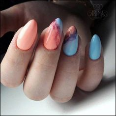 There are three kinds of fake nails which all come from the family of plastics. Acrylic nails are a liquid and powder mix. They are mixed in front of you and then they are brushed onto your nails and shaped. These nails are air dried. Marble Nail Designs, Acrylic Nail Designs, Nail Art Designs, Nails Design, Acrylic Nails, Spring Nails, Summer Nails, Hair And Nails, My Nails