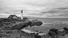 Portland Head Light, B&W, Maine.