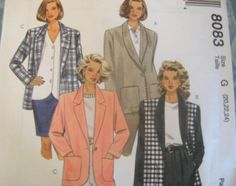 McCALLS SEWING PATTERN - 8083 - Womens PLUS 20,22,24 - 4-HOUR JACKET
