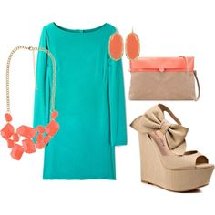 Teal & Coral - engagement/ shower outfit idea