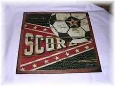 Score Soccer Ball Wooden Sports Wall Art Sign Boys Bedroom Decor. $14.99, via Etsy.