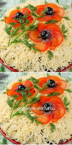 "Very tasty and beautiful salad ""Red Poppies"" - Интересные рецепты - Appetizer Recipes, Salad Recipes, Good Food, Yummy Food, Food Garnishes, Veggie Tray, Cooking Recipes, Healthy Recipes, Food Decoration"