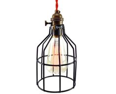 The Racketeer Light --- Edison Cage Pendant Light | Swag Lamp | Canopy Kit Included | Industrial Light | Steampunk Light | Edison Lamp #munire #pinparty #MadeintheUSA