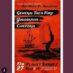 Check it out dudes and dudettes we are playing next week at @planetsarbez with @generaltsosfury and @yugoskavia in st augustine! For SKA NIGHT @floridaskaevents @staugustinebuzz by chieforiafl