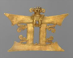 Bat-Nosed Figure Pendant  Date:     13th–16th century Geography:     Costa Rica Culture:     Diquís Medium:     Gold MET
