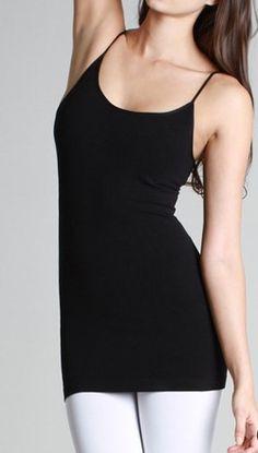 Basic Seamless Long Camisole Black, White, Ivory, Charcoal, Heather Gray & Teal Adjustable straps. 95 cotton/5 spandex  $14 www.ShopSimplyMeBoutique.com  www.facebook.com/ShopSimplyMeBoutique #camisole #cami #long #boutique #shopSMB