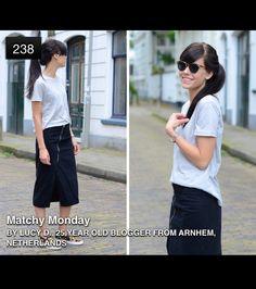 From lookbook.nu. Midi skirt, tshirt, slip ons and wayfarers