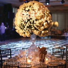 One of the four tablescape variations included large, Fabergé cut-crystal vases overflowing with white roses, calla lilies, orchids and hydrangeas. Orchid Centerpieces, White Centerpiece, Vases, Crystal Vase, Calla Lily, White Roses, Wedding Pictures, Real Weddings, Orchids