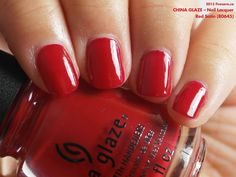 China Glaze Nail Lacquer in Red Satin (swatch by fivezero.ca) [red]