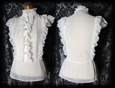 Gothic White Sheer Frilled VICTORIAN GOVERNESS High Neck Blouse 10 12 Steampunk - £24.00