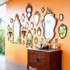 Mirror wall, love the pumpkin color too.