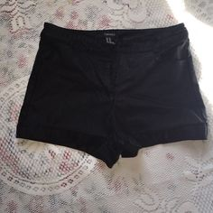 Faux leather shorts Black faux leather shorts, not shiny which makes them very flattering and a closet staple Forever 21 Shorts