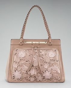 Valentino Demetra Leather-Lace Bag in Light Brown