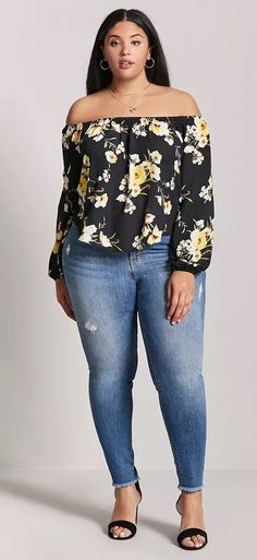 Plus Size Floral Off-the-Shoulder Top - Plus Size Fashion for Women #plussize