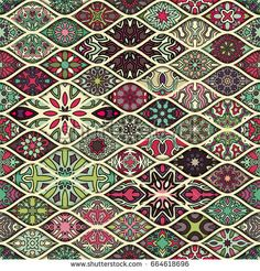Colorful vintage seamless pattern with floral and mandala elements.Hand drawn background. Can be used for fabric, wallpaper, tile, wrapping, covers and carpet. Islam, Arabic, Indian, ottoman motifs.