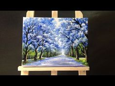 Pretty tree line road acrylic painting - YouTube