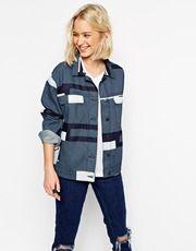 ASOS WHITE Denim Printed Panelled Jacket