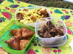 Indian picnic food ( South Indian ) lemon rice with egg onion roast . Idly sautéed in coriander coconut paste . Onion samosas