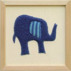 """Appliqued Elephant Wall Art by Shaker. $45.00. These framed fabric animals are not prints--the artist prefers to call them """"wall art"""".. Each animal is sewn from reclaimed wool that has been appliqued onto natural cotton canvas.. Because each one is unique, the fabric colors will vary.. The solid wood frame is unfinished. Framed size is 10"""" x 10"""".. Made in Canada.. These framed fabric animals are not prints--the artist prefers to call them """"wall art"""". Each animal is sewn from rec..."""