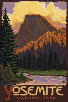 Yosemite National Park California Travel Poster - Aaron Morris