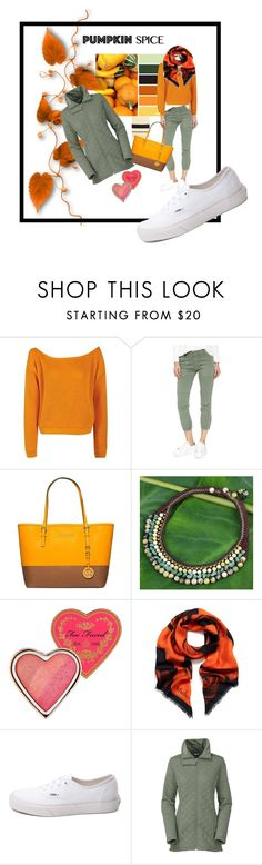 """pumpkin spice and everything nice"" by mavihulett ❤ liked on Polyvore featuring Boohoo, Nili Lotan, Michael Kors, NOVICA, Too Faced Cosmetics, Mulberry, Vans and The North Face"