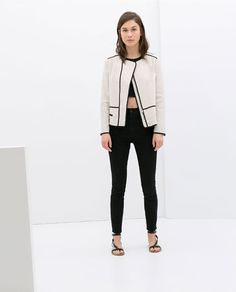 Image 1 of LINEN JACKET WITH BLACK PIPING from Zara