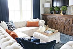 Navy and orange Living Room - DecoRequired : 44 Stunning Navy and orange Living Room 63 Harvest Haven Fall tour 2016 the House Of Silver Lining 9 Beige Living Rooms, Living Room Sets, Home Living Room, Living Room Decor, Cozy Living, Living Area, Orange Home Decor, Fall Home Decor, Autumn Home