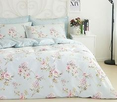 Blue-Duvet-Quilt-Cover-Bedding-Set-Queen-French-Country-Cottage-Shabby-Chic