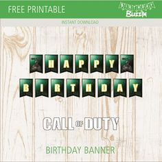 Use this free printable Call of Duty birthday banner to decorate your Call of duty themed party. Army Birthday Parties, Birthday Text, 12th Birthday, Printable Birthday Banner, Happy Birthday Template, Happy Birthday Banners, Birthday Party Decorations Diy, Birthday Party Themes, Halloween Decorations